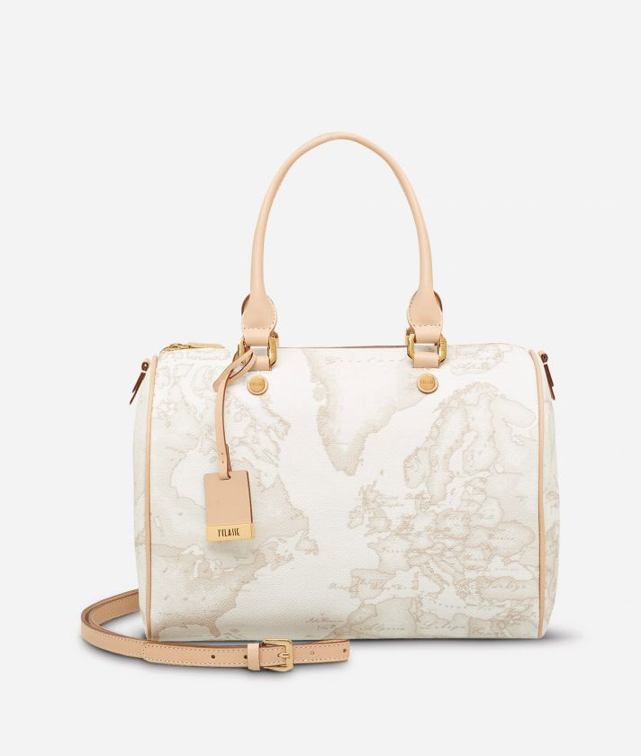 Geo White Medium Boston bag
