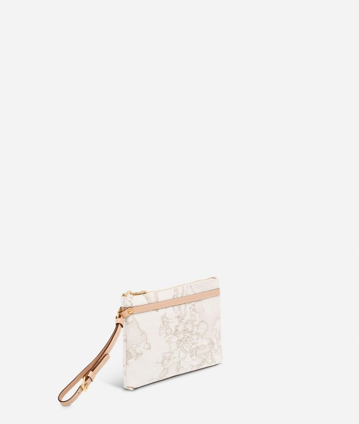 Geo White Medium wristlet clutch