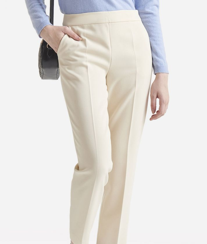 Pantalone Basic in unito stretch Bianco