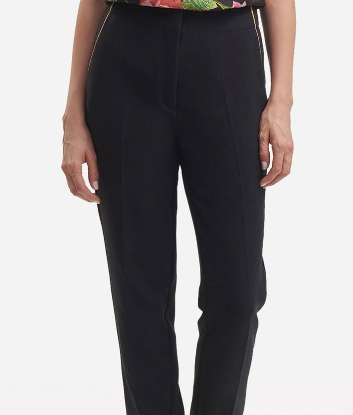 Pantalone a vita alta in unito stretch Nero
