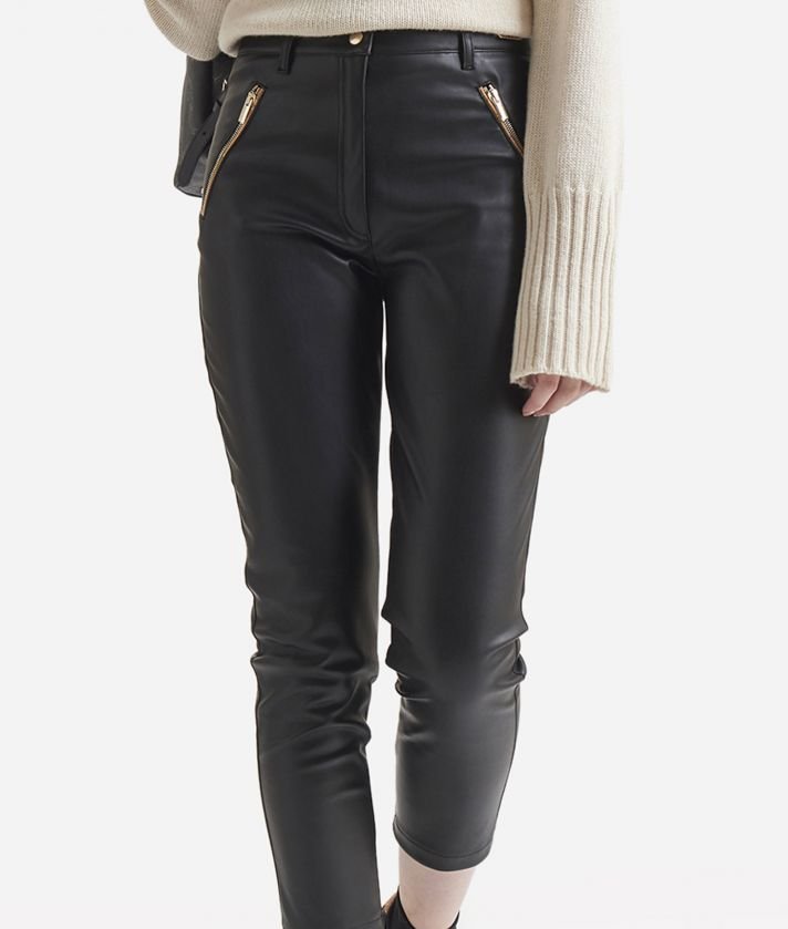 Pantalone skinny in ecopelle Nero