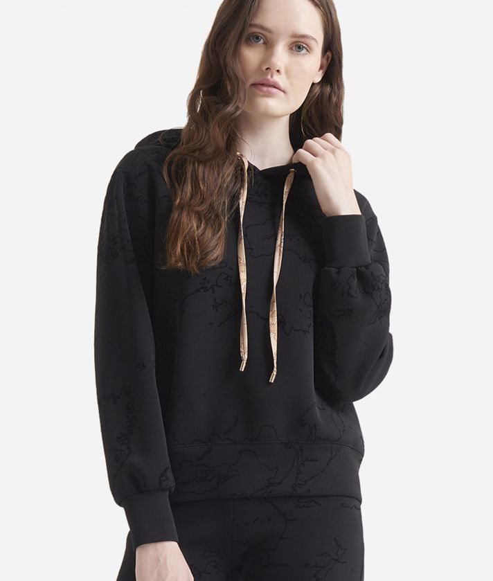 Scuba hooded sweater with Geo Flock print Black