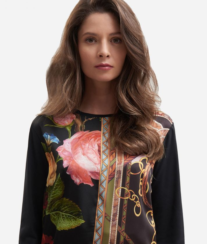 Twill t-shirt with baroque flower print Black