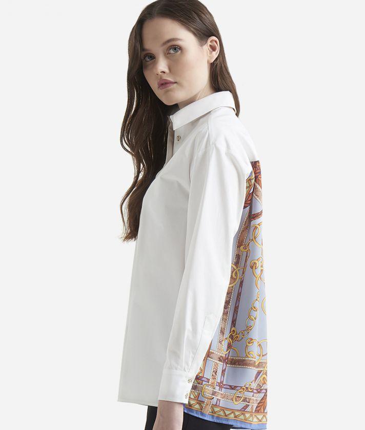 Camicia fluida inserto foulard Bianca