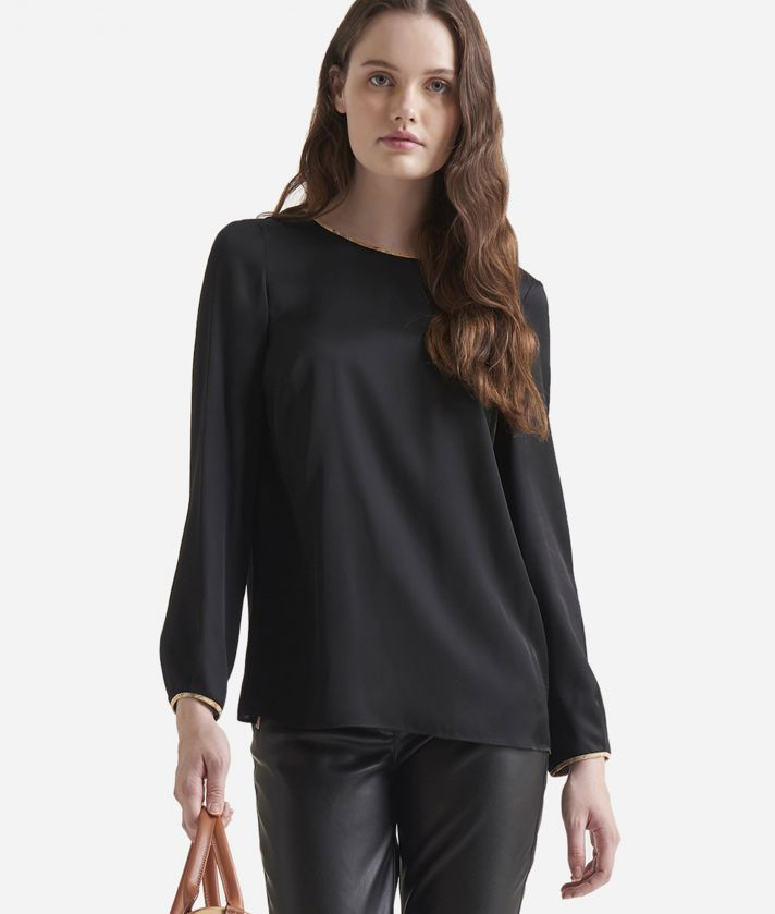 Basic charmouse viscose fabric blouse Black