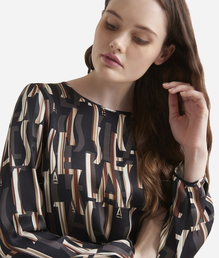 Lettering print viscose blouse Black