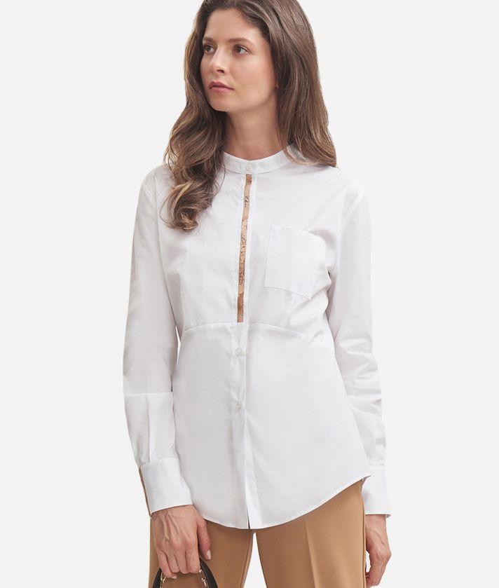 Camicia ufficio in popeline di cotone stretch con collo alla coreana