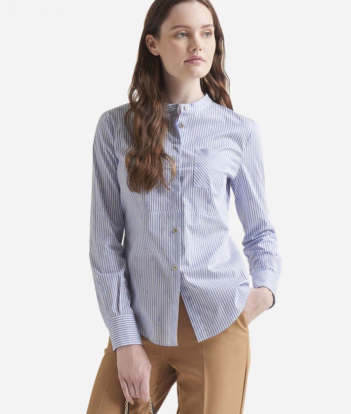 Camicia ufficio in popeline di cotone con collo alla coreana