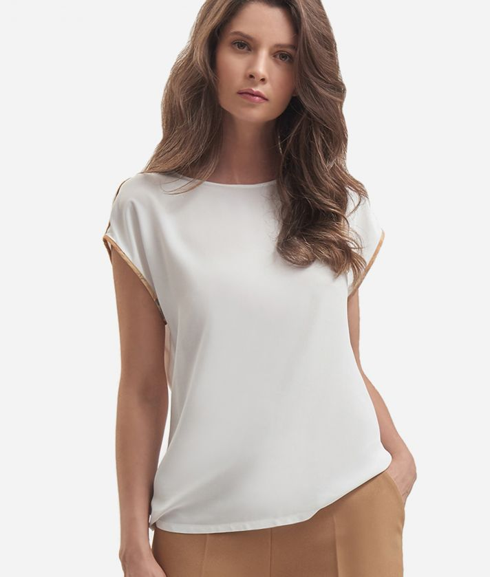 Top basic in crepe de chine Bianco