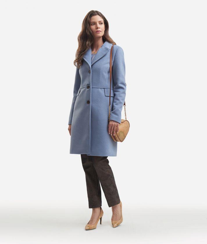 Cappotto basic in velour Azzurro