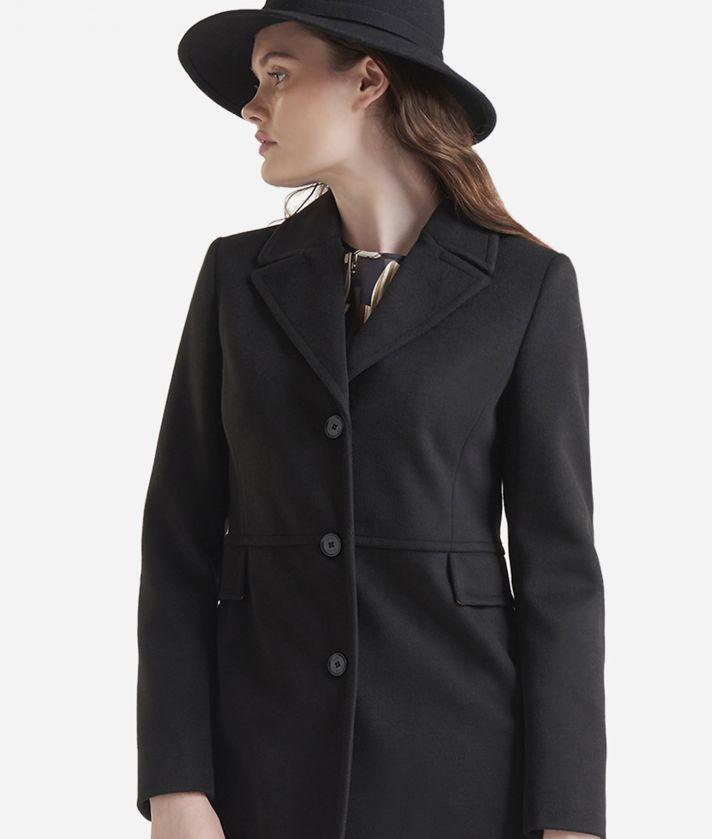 Cappotto basic in velour Nero