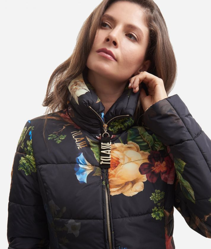 Basic padded jacket with baroque print Black
