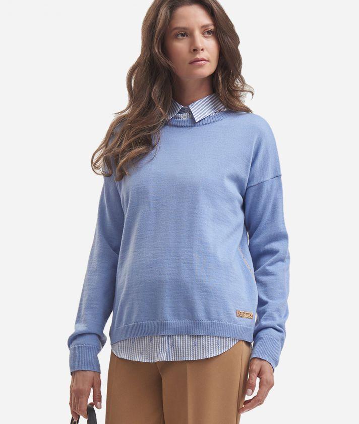 Maglia girocollo in misto lana Azzurro