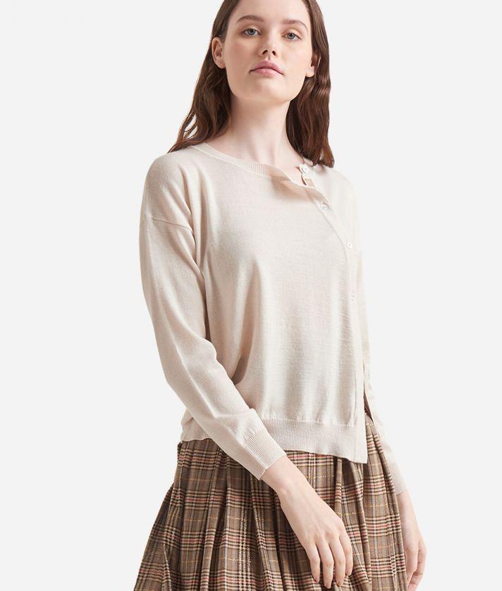 Cardigan asimmetrico in misto lana Bianco