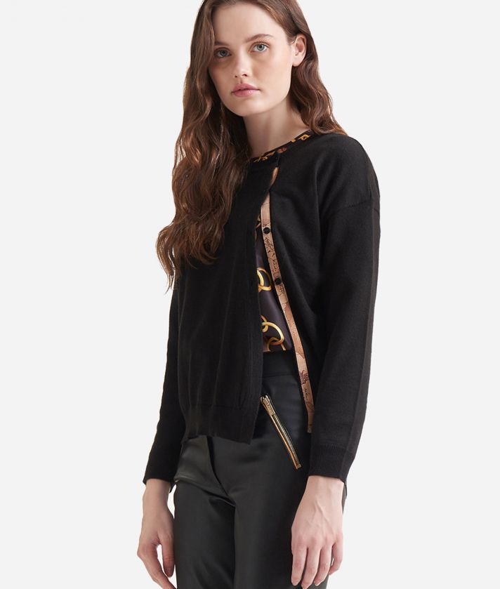Wool blend asymmetric cardigan Black