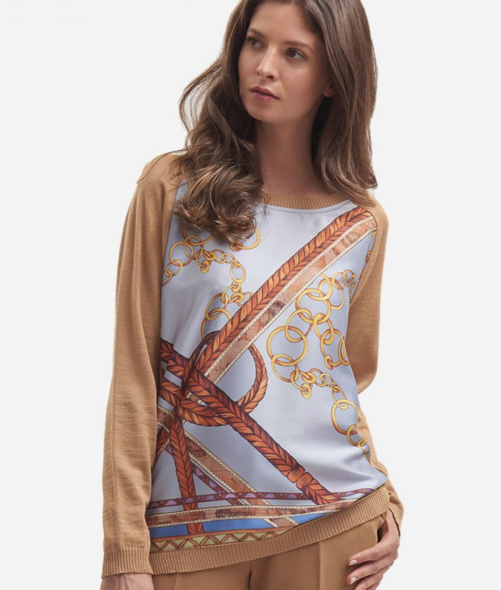 Wool blend sweater with chain print Beige