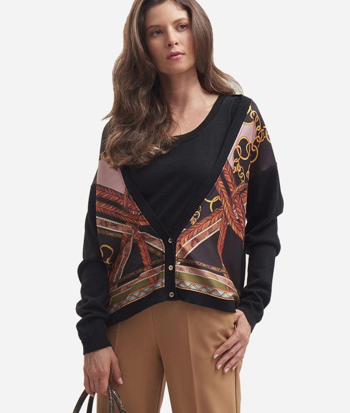 Cardigan in misto lana con stampa Nero