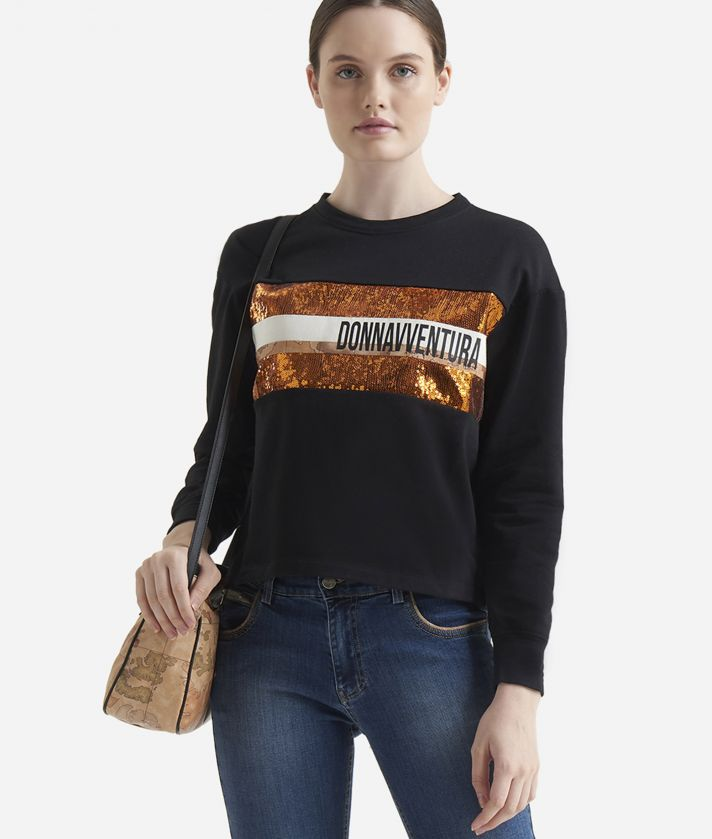Boxy sweatshirt with paillettes Black