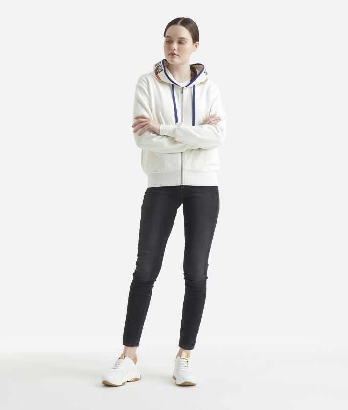 Basic sweatshirt with zip White