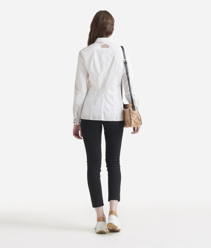 Stretch poplin cotton shirt White