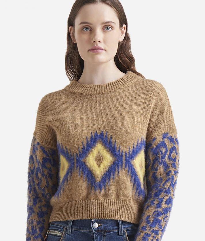 Jacquard pattern boxy sweater