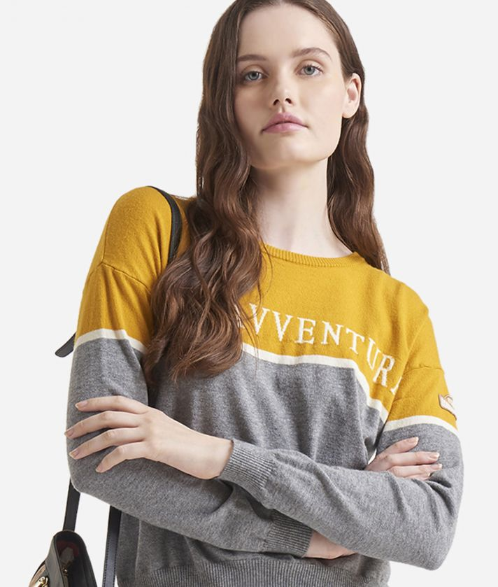 Crewneck sweater with Donnavventura logo Yellow