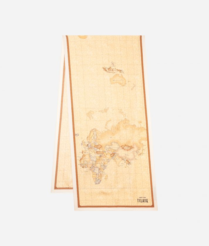 Geo Classic print foulard  45 x 180 Beige