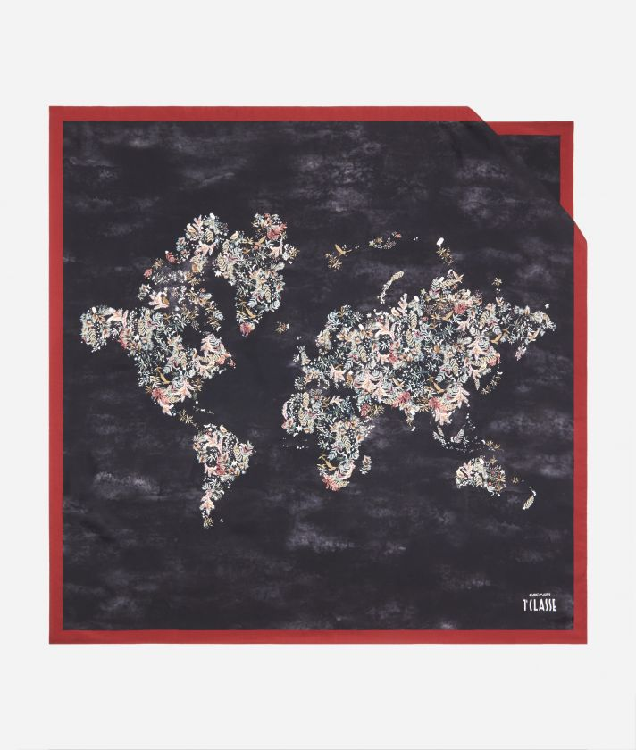 Magic Forest print foulard 90 x 90 Grey