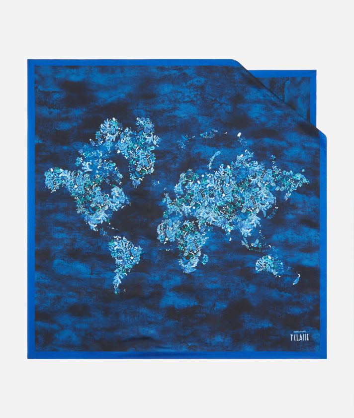Magic Forest print foulard 90 x 90 Blue
