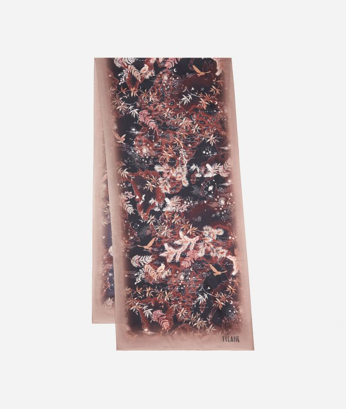 Magic Forest print scarf45 x 180 Bordeaux