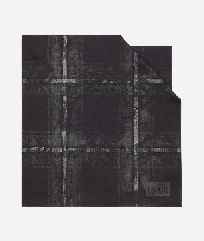 Geo Tartan print scarf45 x 180 Grey