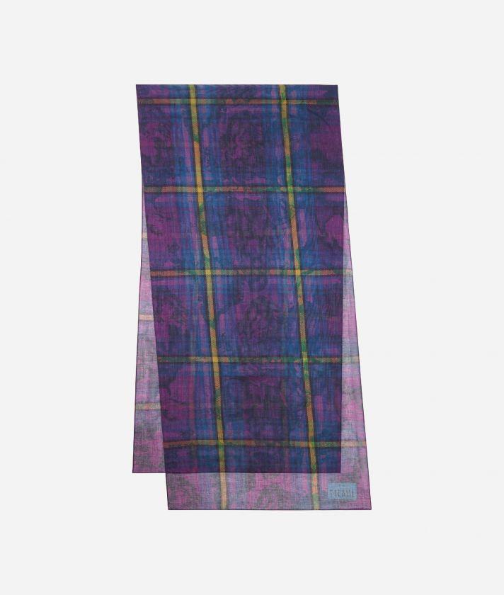 Geo Tartan print scarf45 x 180 Purple