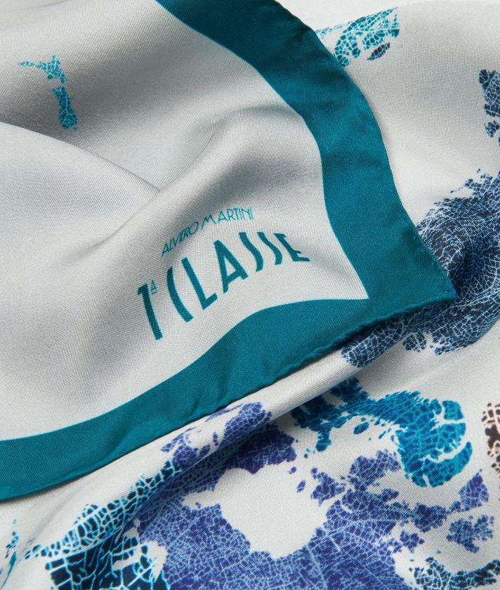 Geo Foglie print foulard 70 x 70 Grey