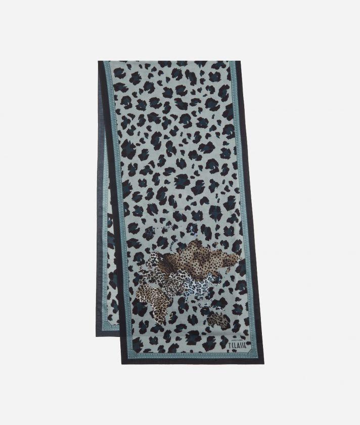 Geo Animalier print scarf45 x 180 Grey