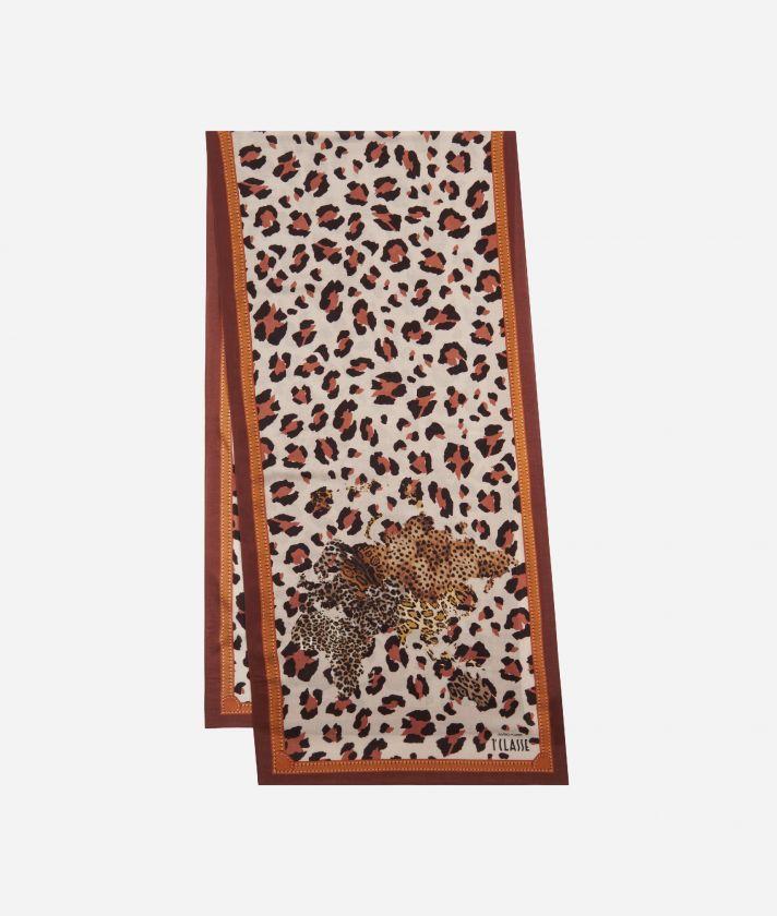 Geo Animalier print scarf45 x 180 Pink
