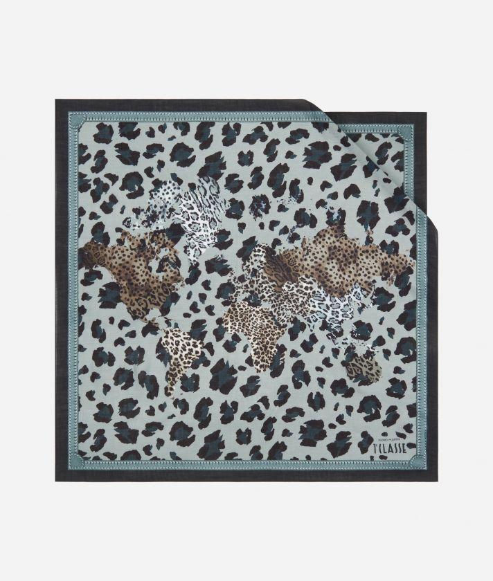 Geo Animalier print foulard 70 x 70 Grey