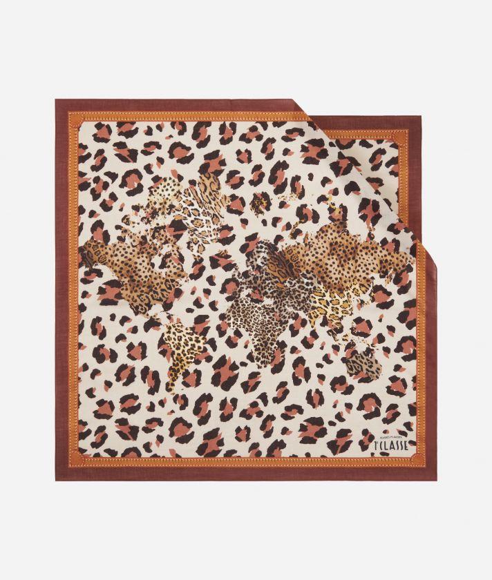 Geo Animalier print foulard 70 x 70 Pink