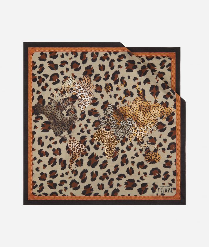 Geo Animalier print foulard 70 x 70 Brown