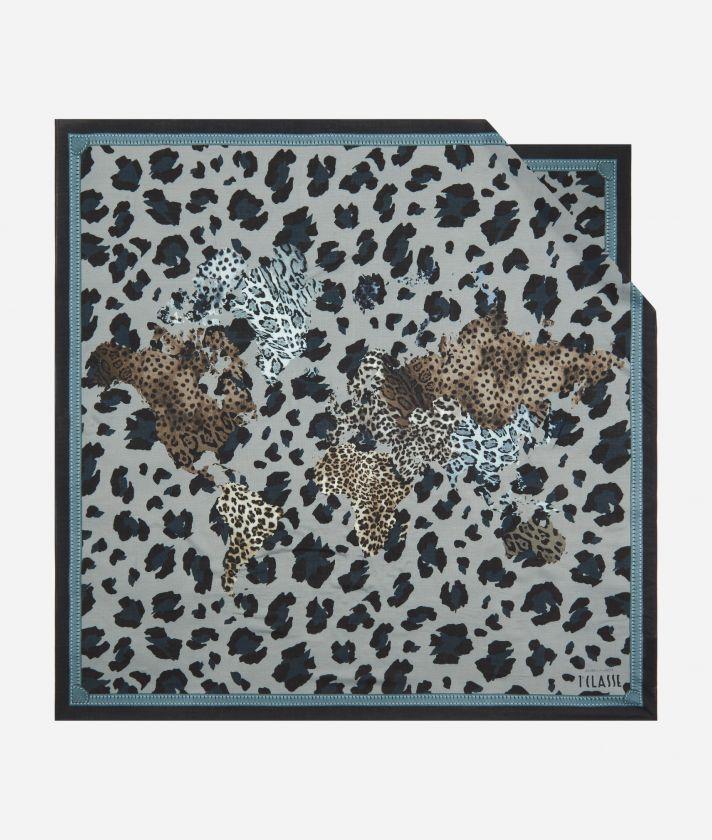 Geo Animalier print foulard 90 x 90 Grey