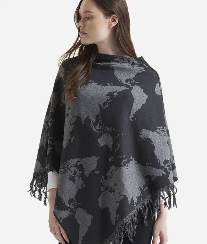 Geo Pieno Poncho Map print Grey
