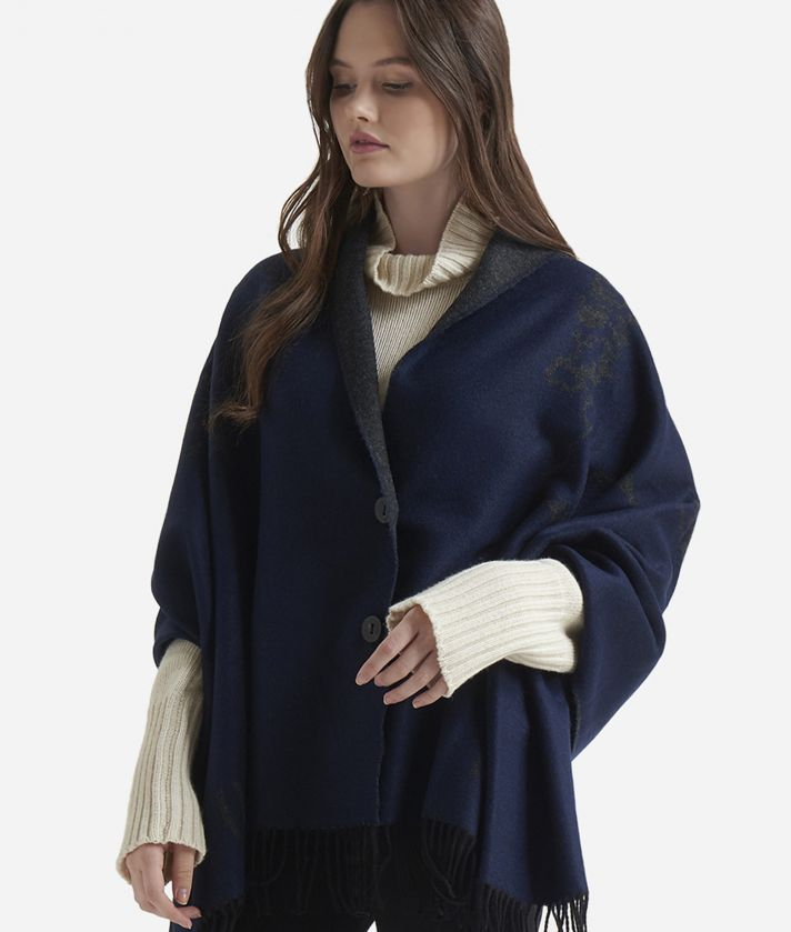 Geo Pieno print maxi scarf 75 x 180 Blue