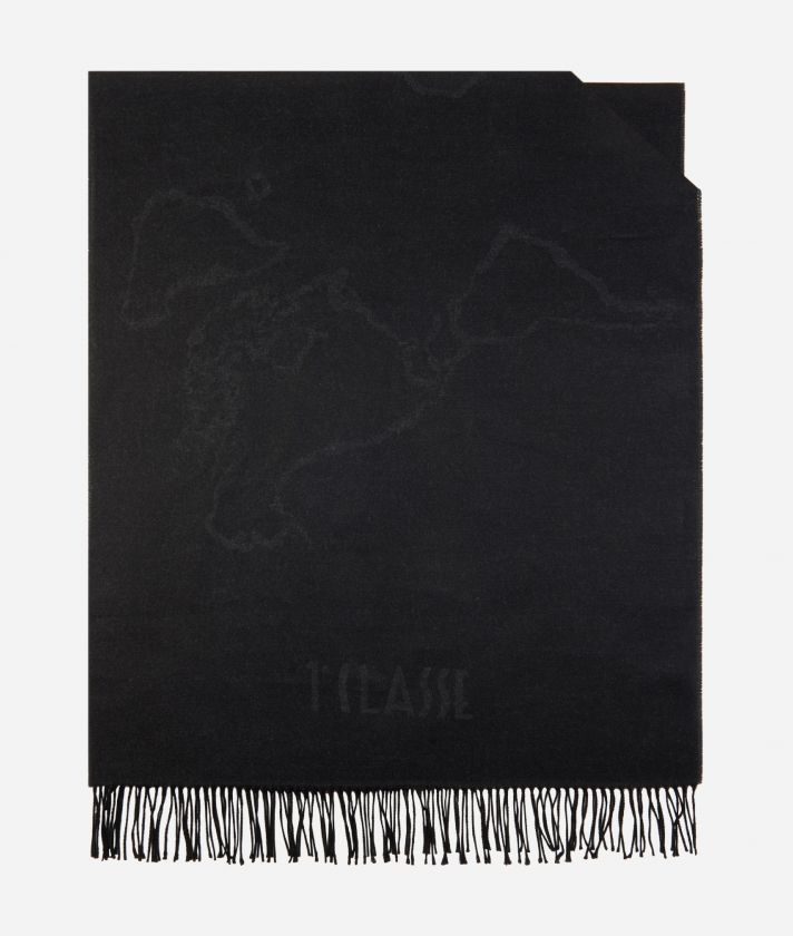 Geo Filetto World Map Scarf 75 x 200 Grey