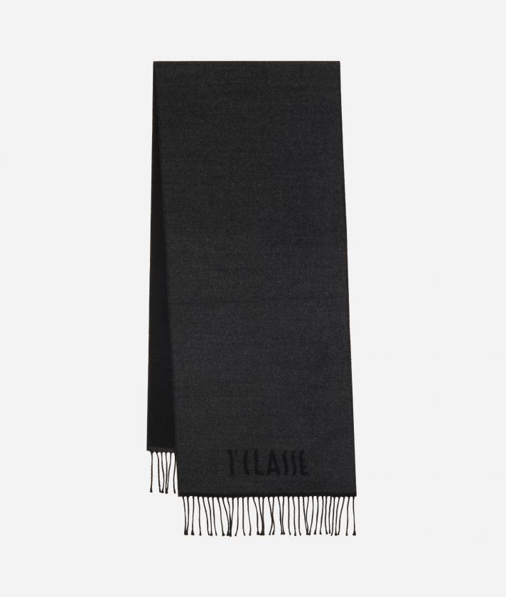 Plain Colour 1AClasse logo scarf38 x 180 Grey