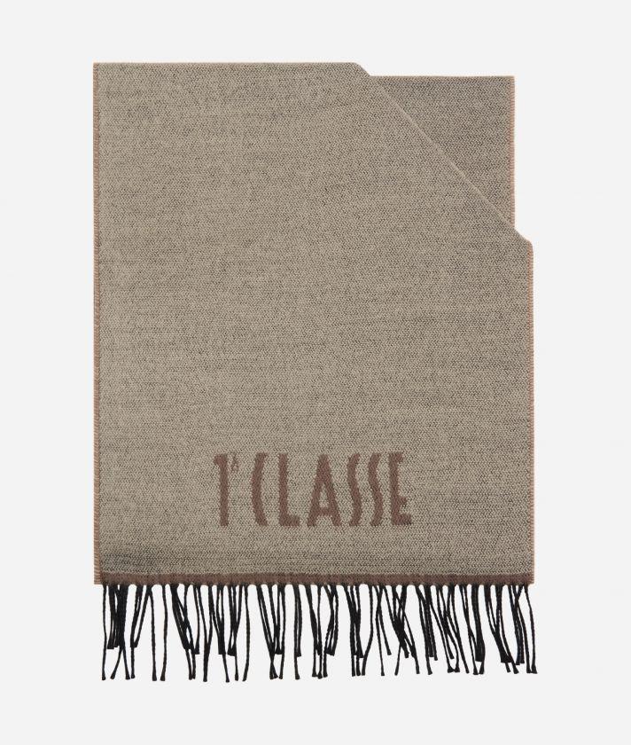 Plain Colour 1AClasse logo scarf38 x 180 Toupe