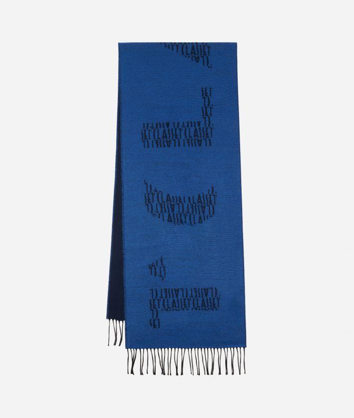 Sciarpa Maxi Logo 40 x 200 Blu