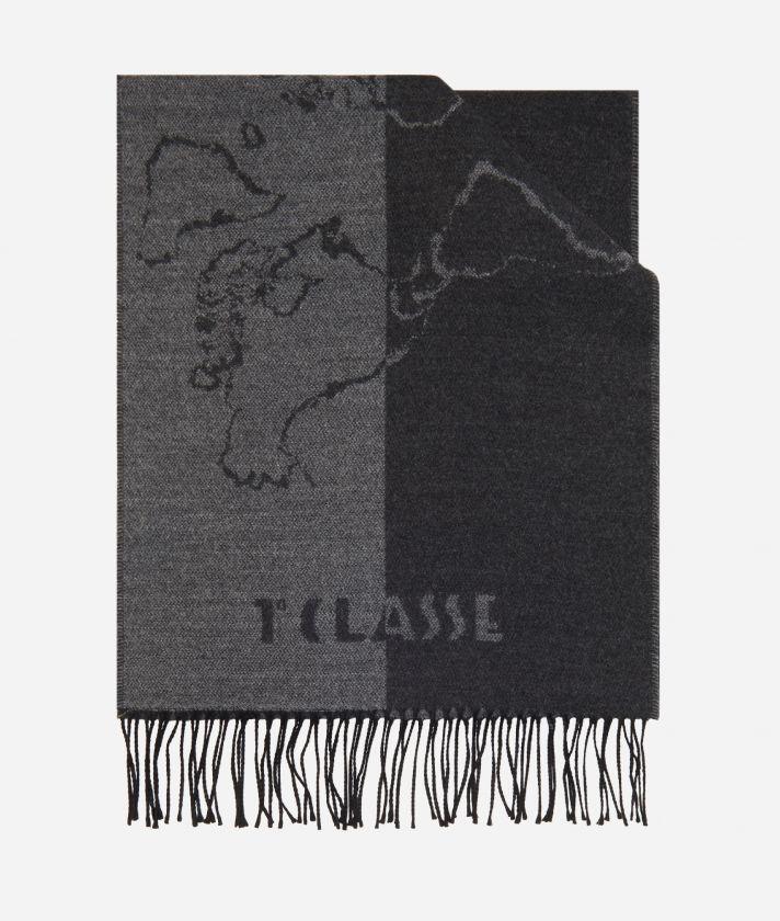 Geo Scritte print scarf40 x 200 Grey