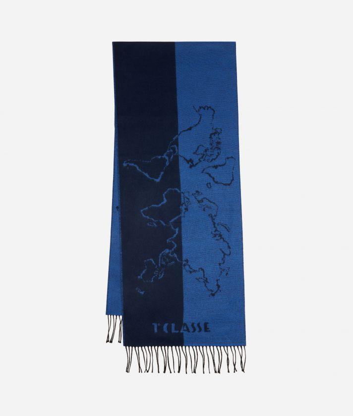 Sciarpa Geo Scritte 40 x 200 Blu
