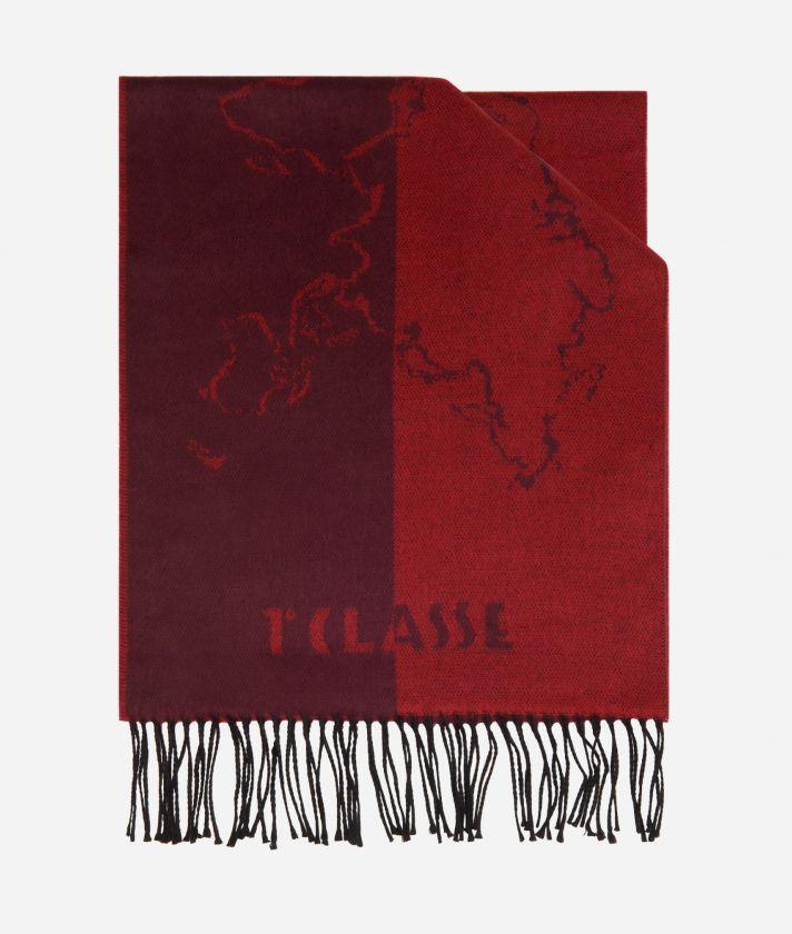 Sciarpa Geo Scritte 40 x 200 Bordeaux