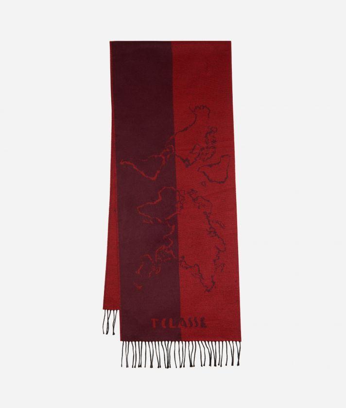 Geo Scritte print scarf40 x 200 Bordeaux