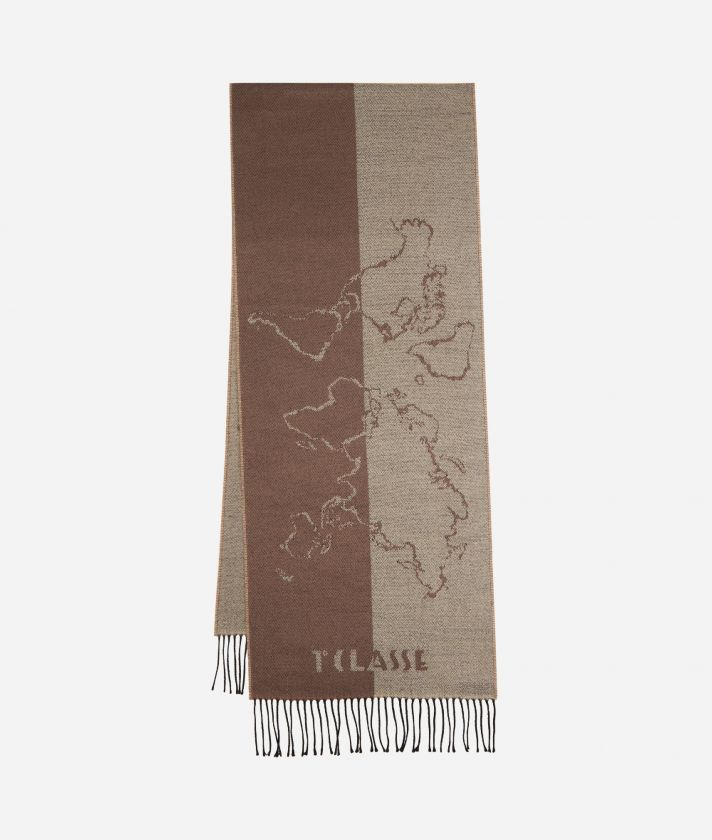 Geo Scritte print scarf40 x 200 Toupe